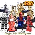 1PC Chrom Deadpool Superheroes diy figures Starwars C3PO Iron Man Mr Gold Avenger Building Blocks Bricks Kids DIY Toys Xmas Gift