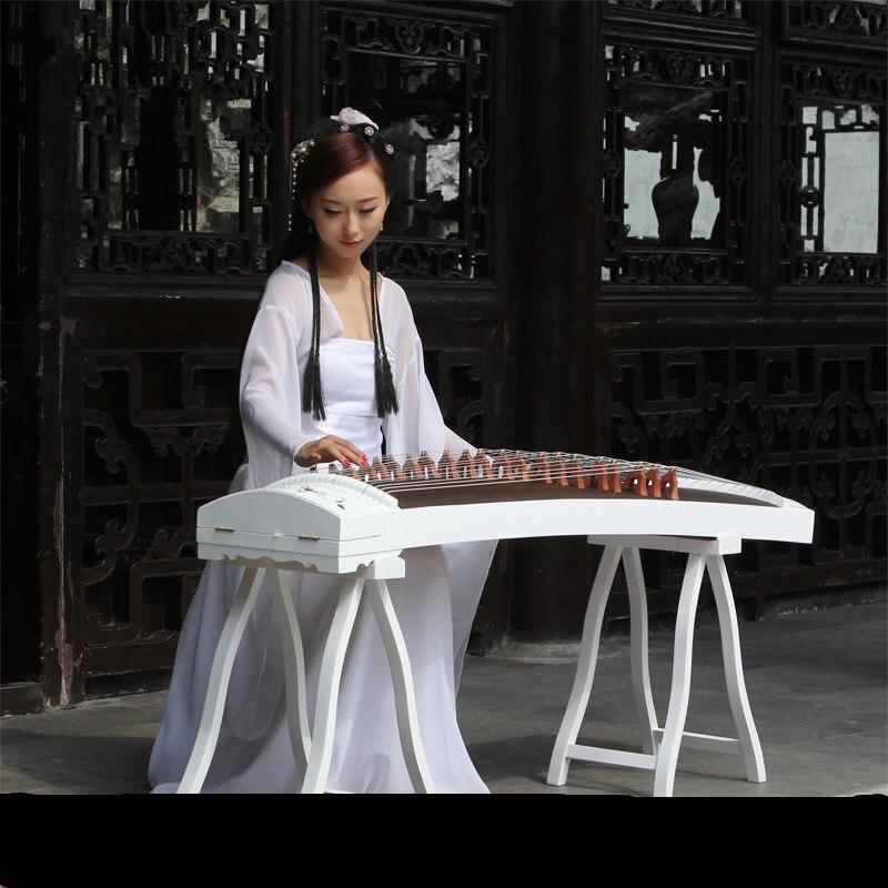 Coquilles naturelles haut de gamme sculpture blanche motif Guzheng incrusté à la main cithare chinois 21 cordes instrument de musique
