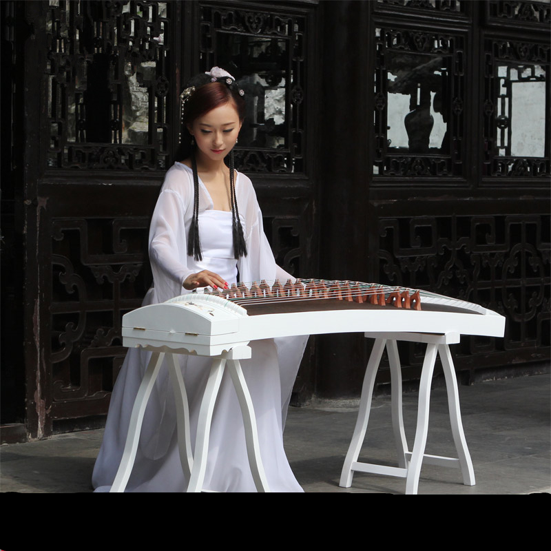 High-end Natural Shells White Carving Guzheng Pattern Handmade Inlay Zither Chinese 21 Strings Music Instrumment