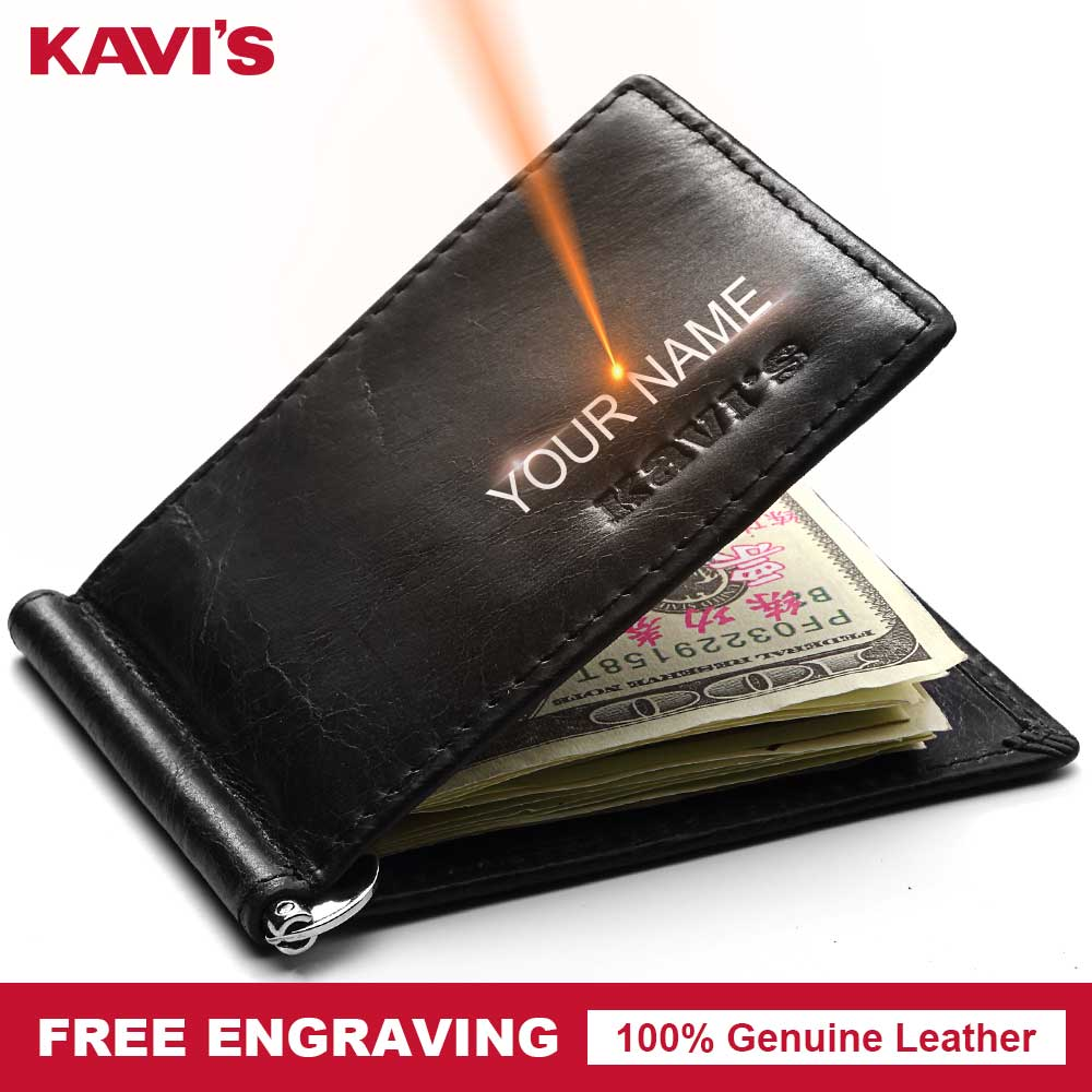 KAVIS Small Genuine Cow Leather Male Purse Wallet Men Money Clip Dollar Clamp For Money Card DIY Gift For Engraving Coffee Solid