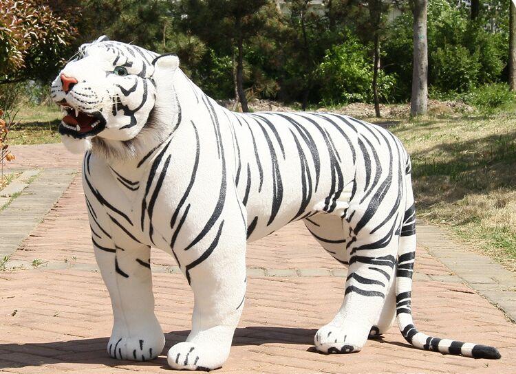 Énorme peluche tigre jouet simulation grand blanc debout tigre poupée cadeau environ 110x70 cm 2998