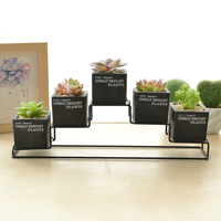 Set of 5 Cement Succulent Planter Pots Cube Flower Pot Black Flower Planter with Iron Metal Shelf (5 Pots + 1 Stand)