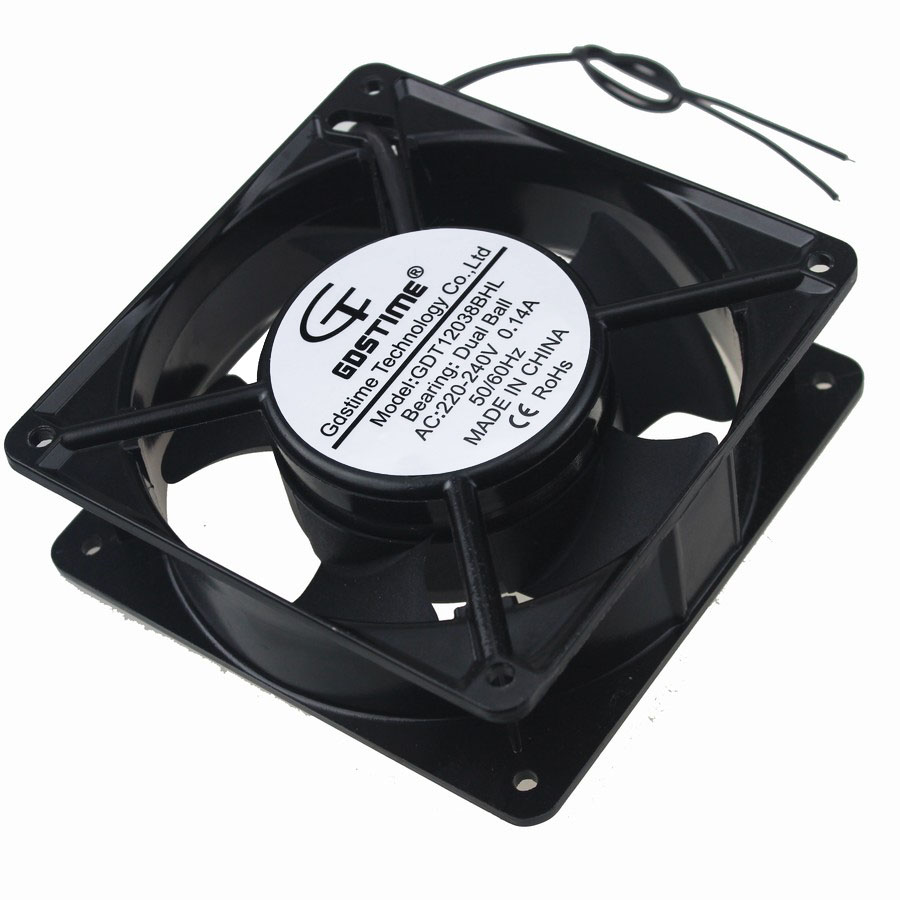 Gdstime 2 Pcs 120x38mm Double Ball Bearing Wires 220v 240v Ac Fan Wiring 220 Volt 120mm Metal Case