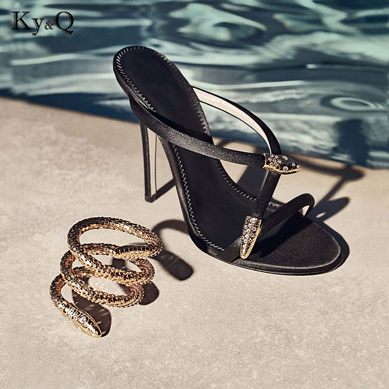 Women Sandals Snake Print Crystal High Heels Shoes Woman Open Toe Summer Sandalias High Heels Zapatos rhinestone high heeled sandals women summer gold high heel shoes open toe high heels slippers crystal shoes