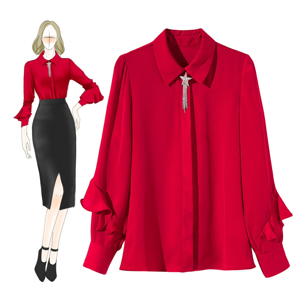 2019 printemps été femmes haut à la mode designer blouse dames élégant volants à manches longues slim chemises blusas vêtements rouge/blanc