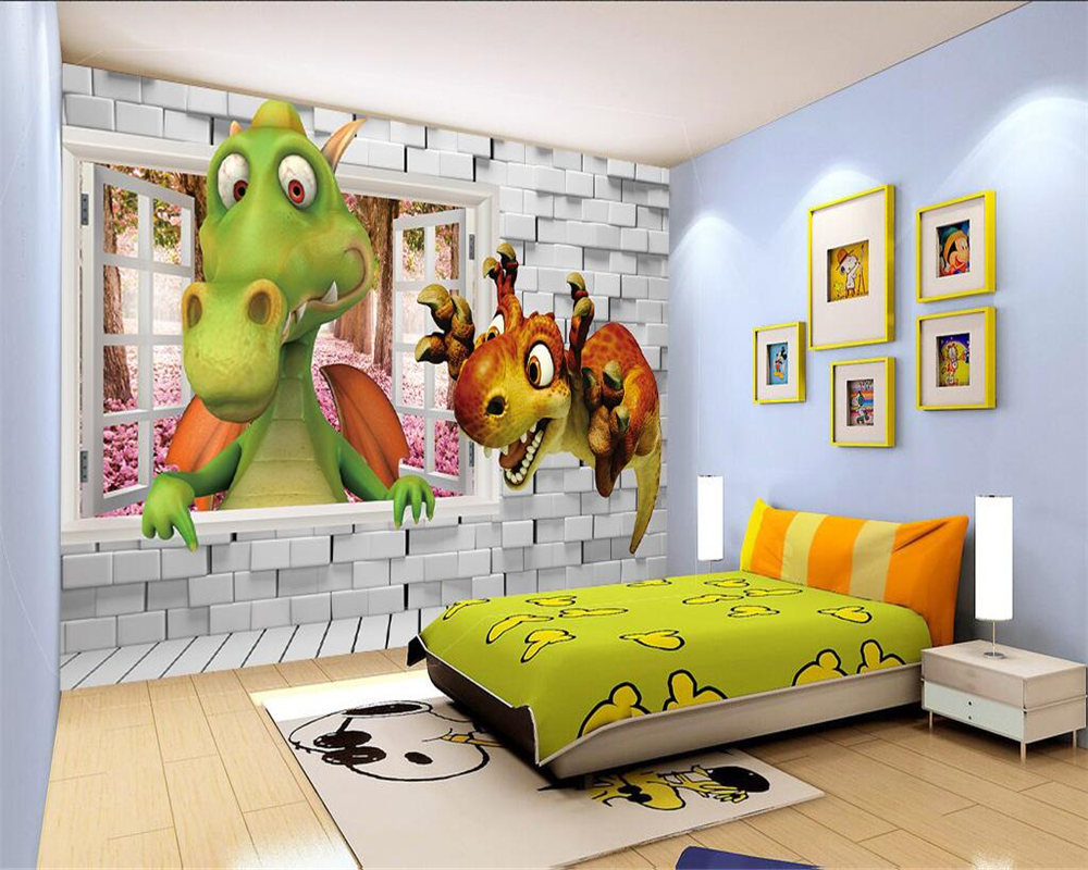 Beibehang Custom Wallpaper Kids Room Backdrop Wall 3D Dinosaur Stereo Dinosaur Cartoon Baby Room Background 3D Wallpaper mural custom baby wallpaper snow white and the seven dwarfs bedroom for the children s room mural backdrop stereoscopic 3d