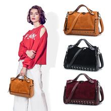 Kisstyle Soft Leather Women Top-Handle Handbag with Rivets Fashion Messenger Bags New Design Vintage Female Motorcycle Tote Bags