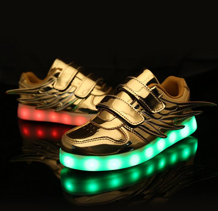 Kids Wing Led Shoes Boys Girls Light up Zapatos USB Charging 7 Colors Big/Llttle Kid Sneakers Casual Flashing Wings Shoes 25-35 joyyou brand usb children boys girls glowing luminous sneakers teenage baby kids shoes with light up led wing school footwear