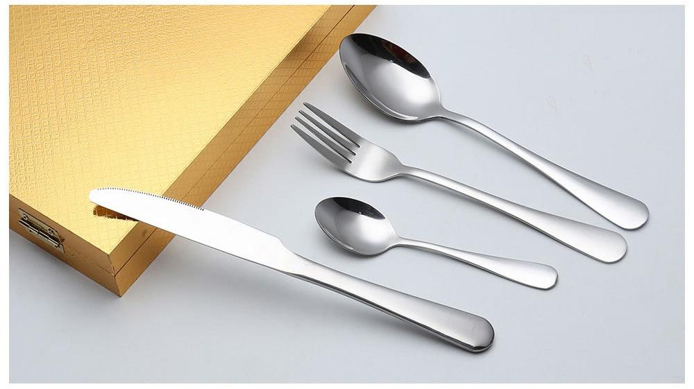 Купить с кэшбэком Hot Sale 24 Pcs/set No box packaging Dinnerware Stainless Steel Western knife Cutlery  Kitchen Food Tableware Dinner Set