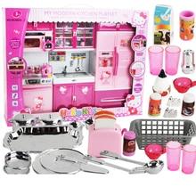 hello kitty kitchen toys DHL Pretend Play Toy Tableware large Cooking Simulation big kitchen toy set Setgeladeira infantil