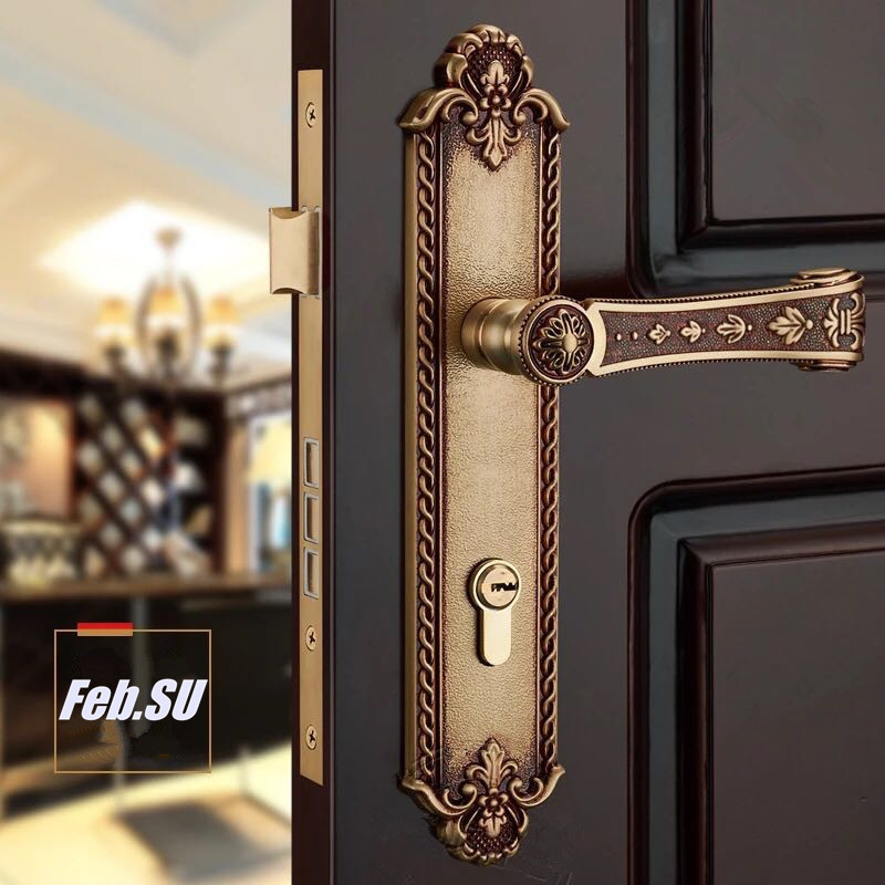 85*45MM SOLID BRASS MATERIAL EURO GOLD COLOR DOOR HANDLE LOCK WITH COPPER CYLINDER new bullet head bobbin holder with ceramic tube tip protecting lines brass copper material