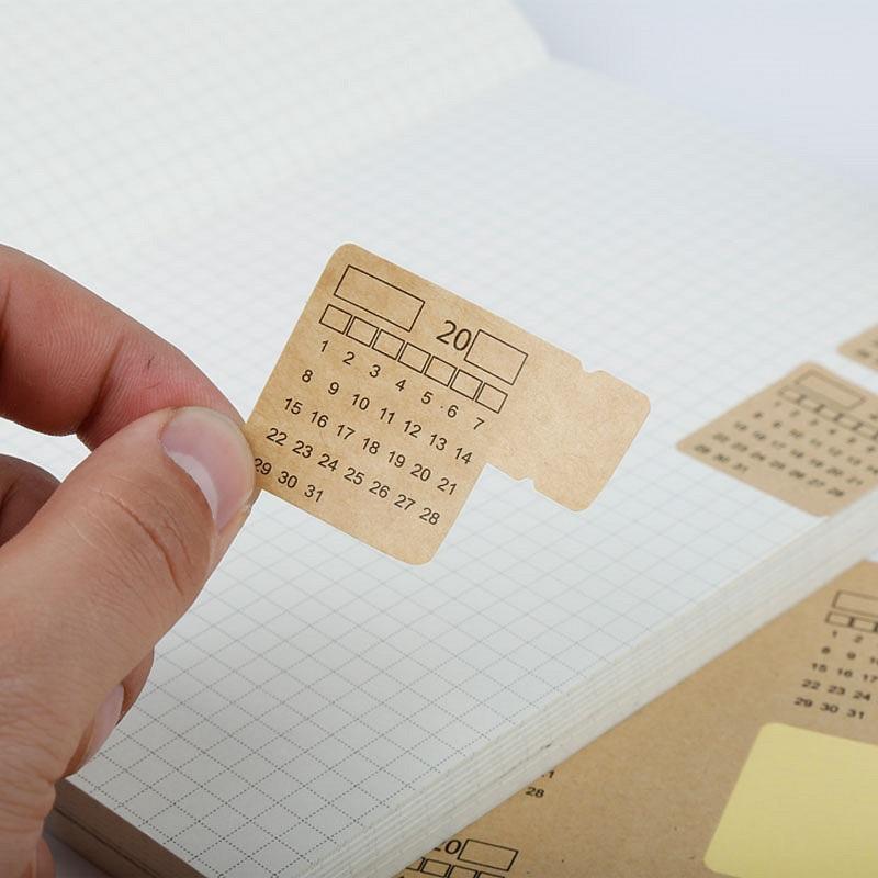 4pcs(30Tabs) Universal Diy Hand-write Brown Kraft Paper Calendar Index Tabs Sticker 11.5 X 21cm