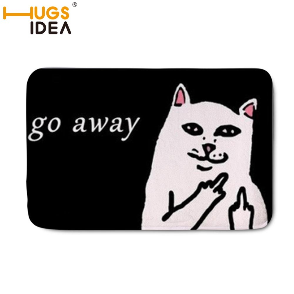 HUGSIDEA Home Carpet Cat Go Away Doormat Carpets for Living Room Kitchen Blood Foot Print Rugs Mat Russian Word Karpet Alfombras