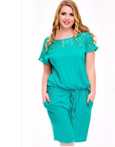 2019 Women Summer Lace Playsuits Casual Plus size 4XL Short Jumpsuits Rompers 5XL Large size Ladies Playsuits Overalls Clothing 3