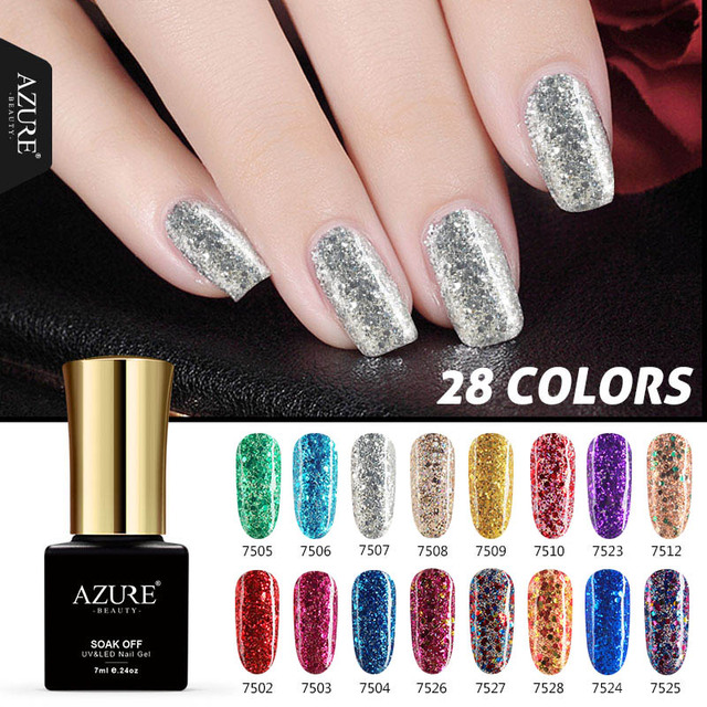 Azure Beauty White Color Glitter UV Nail Polish UV Lamp Diamond Nail ...