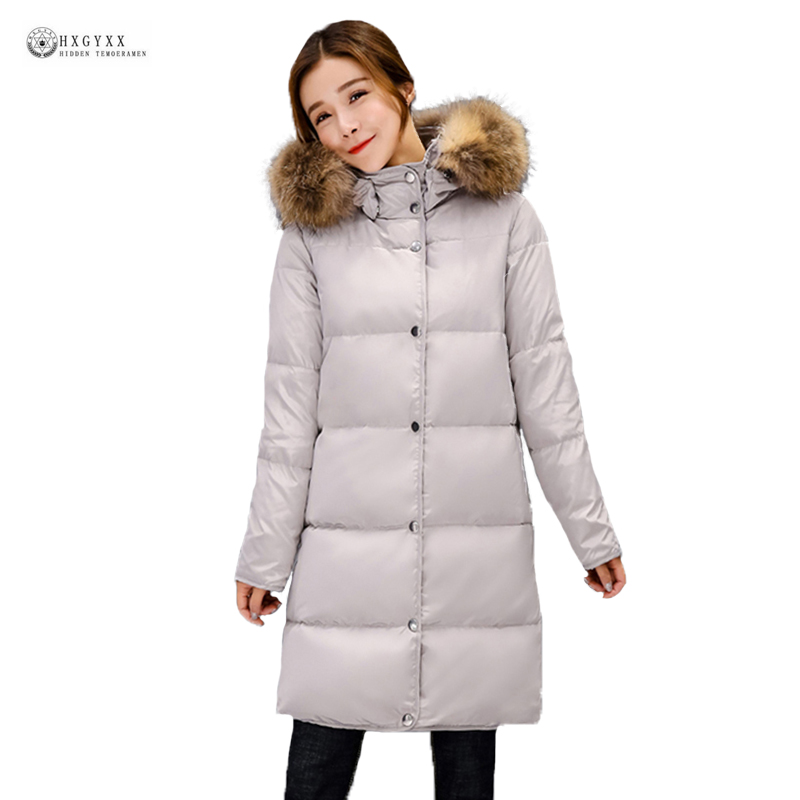 Women Winter Down Coats Real Raccoon Fur Collar Hooded Down Jackets Female Pure Color White Duck Down Warm Winter Coat OK1053 buenos ninos thick winter children jackets girls boys coats hooded raccoon fur collar kids outerwear duck down padded snowsuit