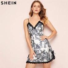 8253375687 SHEIN V-neck Sexy Floral Print Lace Trim Satin Cami Sleepwear Women  Sleeveless Nightdress Sexy Sleepwear For Women Nightdress