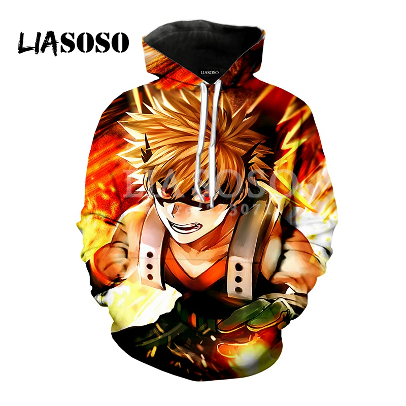 LIASOSO 2018 latest fashion hooded anime My Hero Academia men and women wear hooded 3D printing hoodie branded clothing M058