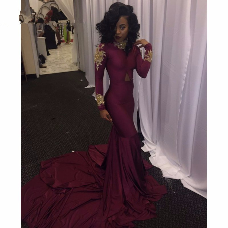 377fcd8abb83 Sexy Purple Satin Mermaid Prom Dresses 2017 High Neck Long Sleeve Evening  Gowns Appliques Beading Court Train Formal Party Gown