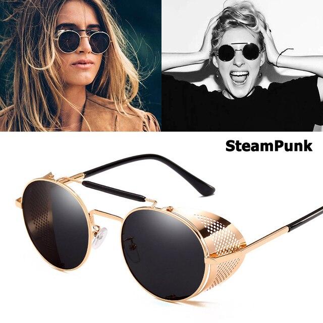 a862581edef JackJad Vintage Retro Round Metal Sunglasses SteamPunk Style Side Mesh Brand  Designer Glasses Oculos De Sol