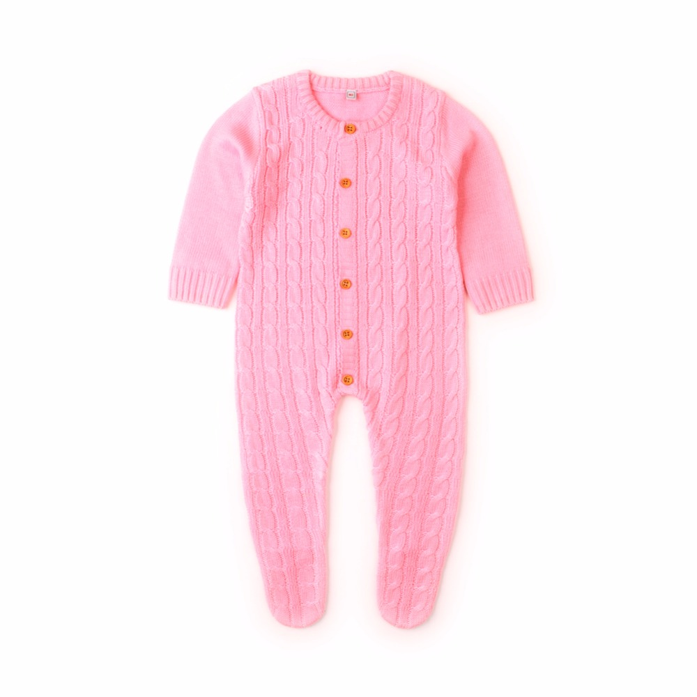 Newborn Infant Baby Girl Boys Rompers Spring Cable Knit Toddler One
