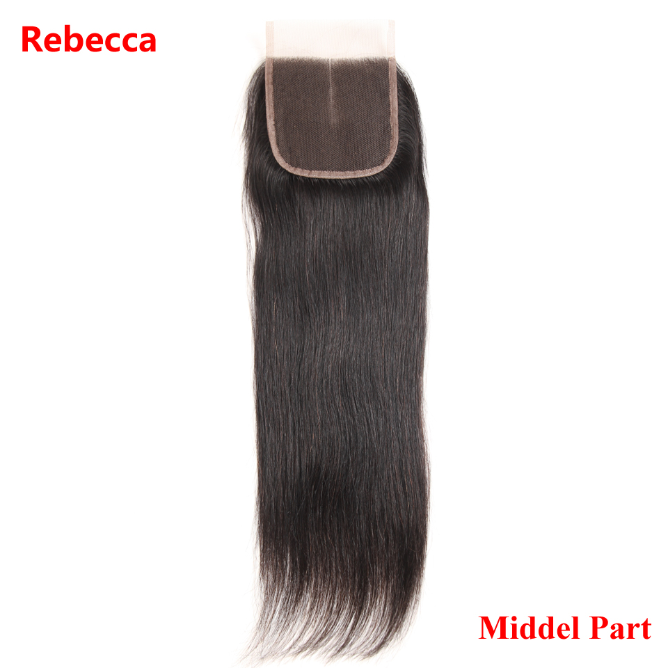 Rebecca Brazilian Remy Human Hair Lace Closure 4x4 Middle Part Natural Black Straight Hair Closure Free