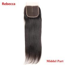 Ребекка бразильского remy Человеческие волосы Синтетические волосы на кружеве 4×4 средняя часть натуральный черный прямые волосы Накладные волосы бесплатная доставка