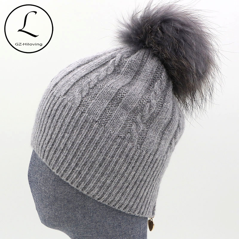cc6eb54b7e08f Winter Women s Hats With Zipper Striped Beanies Hat Women Knitted Wool  Skullies Casual Knit Hat With Big Raccoon Fur Pom Pom Hat