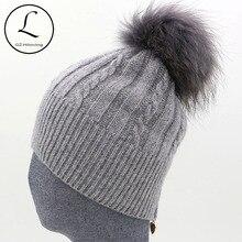 Winter Women's Hats With Zipper Striped Beanies Hat Women Knitted Wool Skullies Casual Knit Hat With Big Raccoon Fur Pom Pom Hat