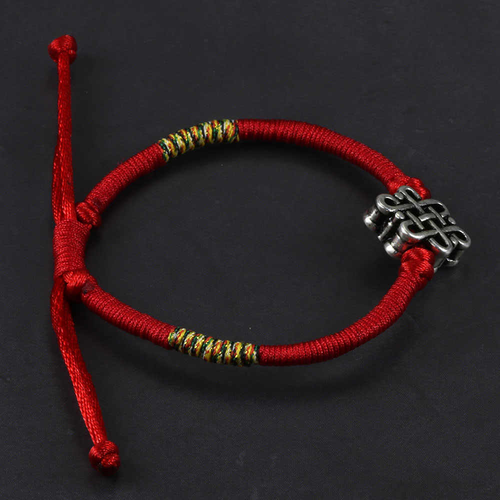 eea0a744e534a ... Handmade Braided Red Rope Bracelets Traditional Ethinic Chinese Knots  Charm Bracelets For Men And Women Adjustable ...