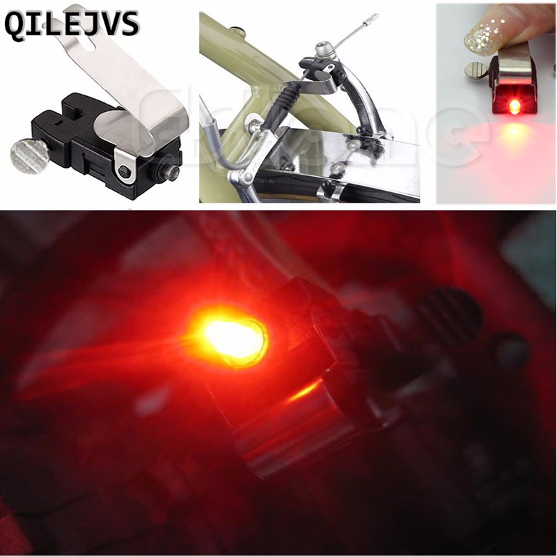 QILEJVS Portable Brake Mini Bike Light Mount Tail Rear Bicycle Led Cycling Button Battery Power Supply Accessories