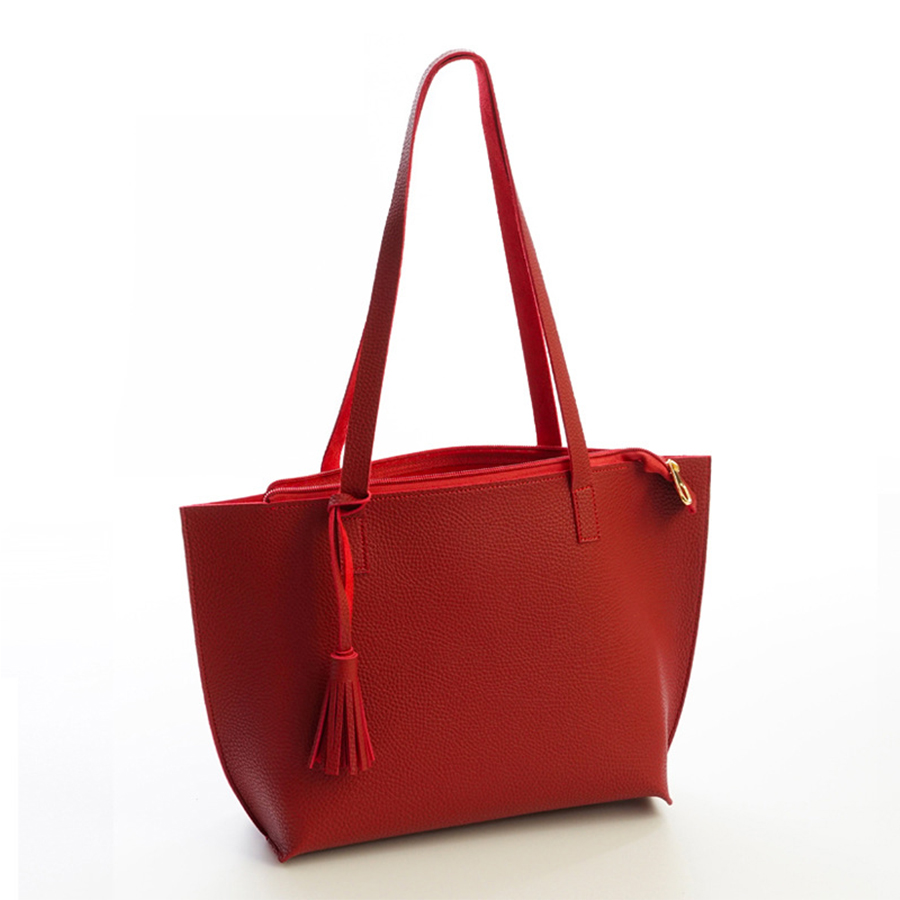 Otoño Invierno de la marca Solid cuero de la PU de las mujeres del bolso de las mujeres bolso de gran capacidad borla bolsos de hombro de la manera bolsa de asas de calidad