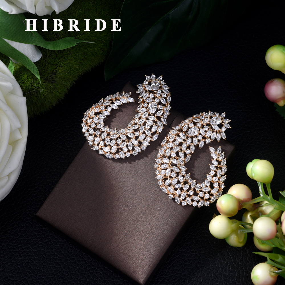 HIBRIDE High Grade Luxury Popular Geometry Flower Shape Stud Earrings Full Mirco CZ Paved Wedding Earring Fashion Jewelry E 413