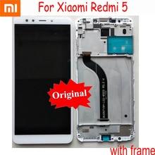 Oryginalny Xiaomi Redmi 5 nowy wyświetlacz lcd Panel dotykowy Panel Digitizer montaż z ramą części do telefonów czujnik