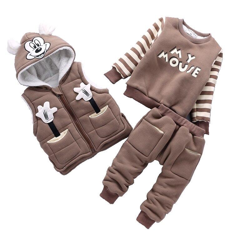 Одежда для маленьких мальчиков мультяшный Микки, теплый костюм для мальчиков возрастом от От 1 до 3 лет года, зимний Бархатный комплект одежд
