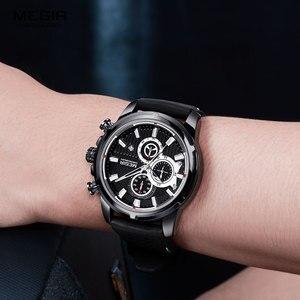 Image 4 - MEGIR wojskowe zegarki kwarcowe mężczyźni Top marka luksusowe Chronograph Sport zegarek Relogios Masculino silikonowy pasek zegarek na rękę człowiek 2101 czarny