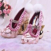 Новое поступление розовые блестки Т образным ремешком и пряжкой на необычном каблуке милый белый мех розовый оборками оформлен золотой цве