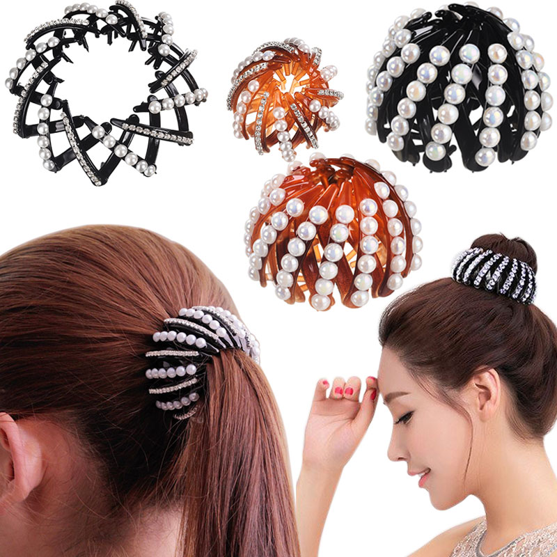 Girls 9 Colors Nest Bun Maker Hair Clips High Quality Bud head Bezel Plate Hair Accessories for Women Curler Roller Headwear high quality hair color one time molding paste seven colors available grandma gray green japanese hair dye wax wp65
