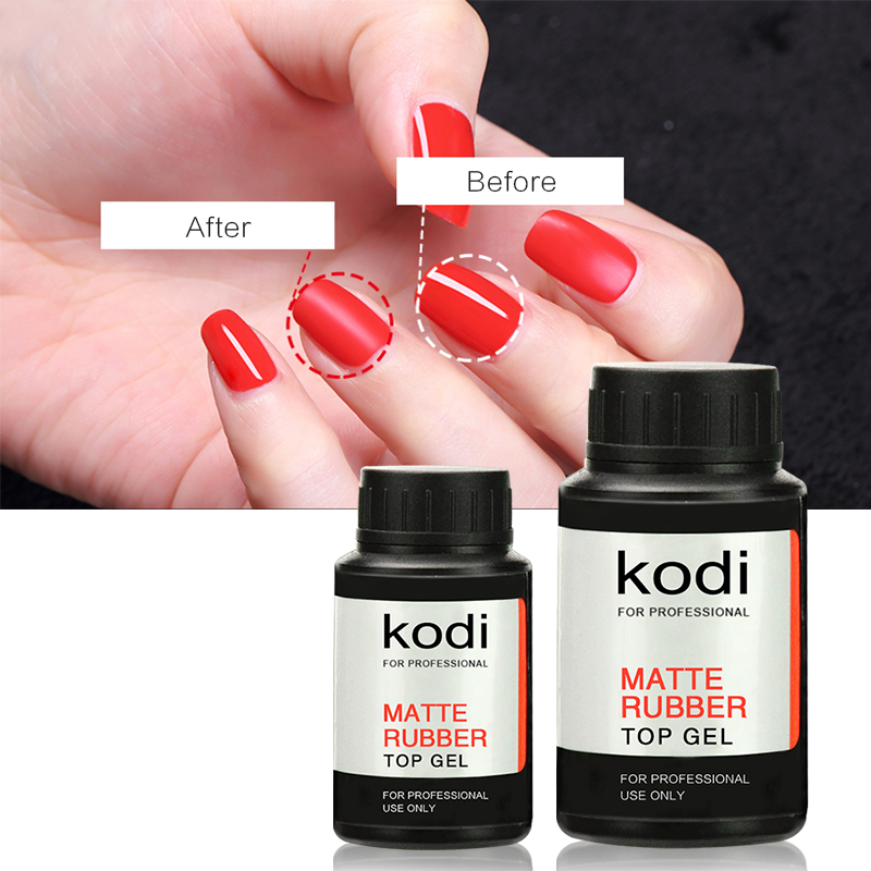 Kodi Long Lasting UV Led Rubber Matte Top Gel Polish UV Nail Primer Soak Off UV Nail Gel Polish High Quality Coat 14ml 30ml