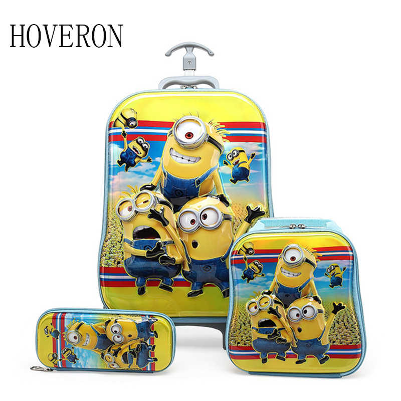 Children school bag trolley Pencil case student with wheels travel bag cartoon backpack children climb stairs suitcase gift box