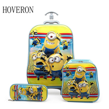 Children school bag trolley Pencil case student with wheels travel bag cartoon backpack children climb stairs suitcase gift box цена