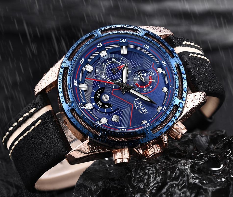 LIGE Watch Men Fashion Sport Quartz Clock Leather Mens Watches Top Brand Luxury Blue Waterproof Business Watch Relogio Masculino