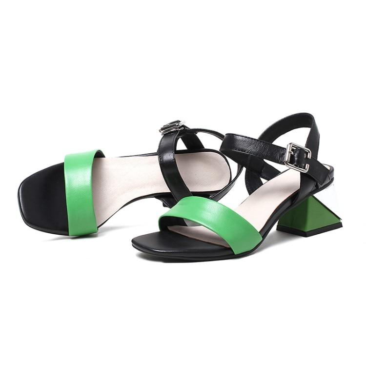 {zorssar} amarillo Grueso 2018 Cuero Zapatos Tobillo Genuino De Fiesta Tacón Verano Sandalias Mujer Correa Punta Y Alto Verde Abierta BwgxqSBF
