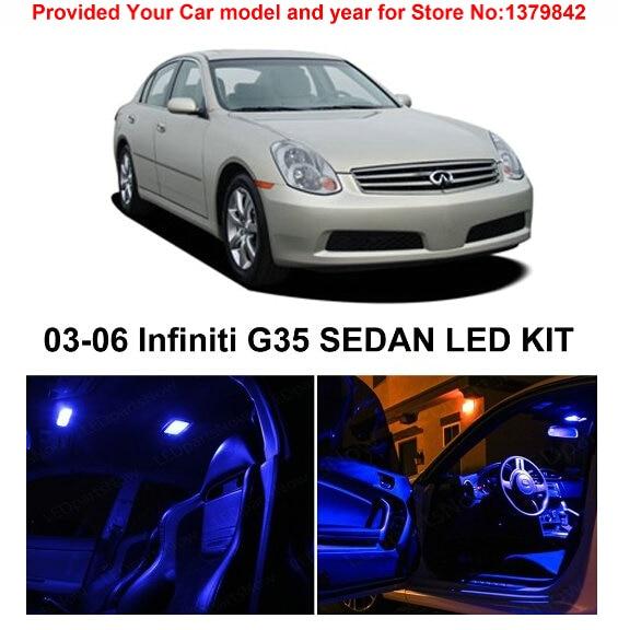 Free Shipping 9pcs Lot Car Styling Xenon White Package Kit Led Interior Lights For Infiniti G35 Sedan 2003 2006