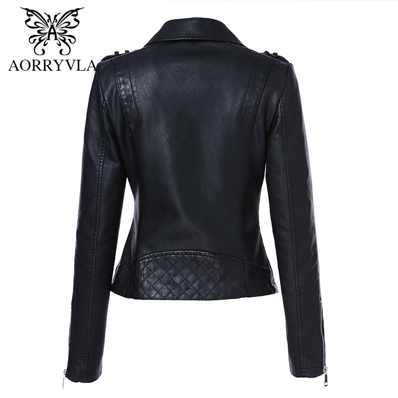 AORRYVLA 2019 New Fashion Women's Leather Jacket Short Turn-Down Collar Zippers Black Motorcycle Faux Leather PU Jacket Hot
