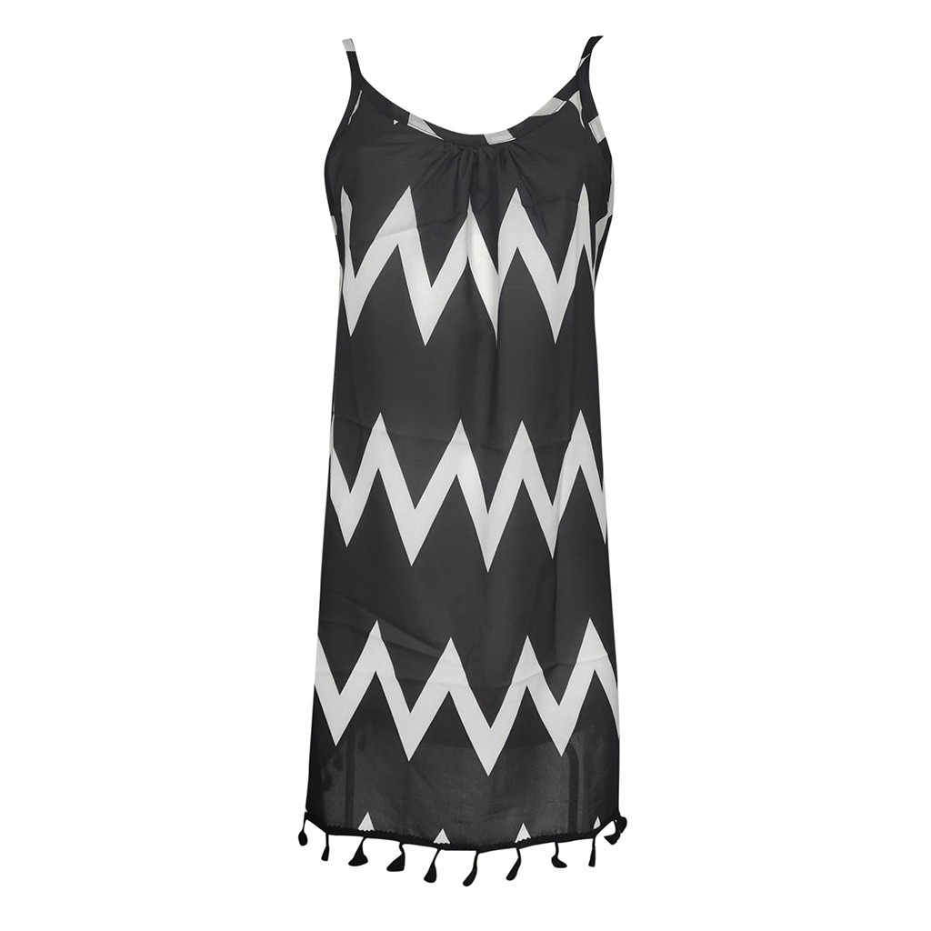 Femmes robe d'été plage Sexy vague motif gland Boho Style robe sangle sans manches vacances robe d'été robes 2019 #