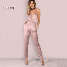 COLROVIE Dusty Pink Satin Slip Jumpsuit Sexy Cross Low Back Women Summer Jumpsuits 2017 New Ruffle Strap Casual Elegant Jumpsuit(China)