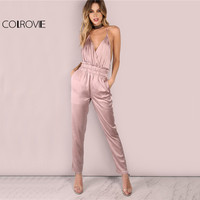 COLROVIE Dusty Pink Satin Slip Jumpsuit Sexy Cross Low Back Women Summer Jumpsuits 2017 Ruffle Strap