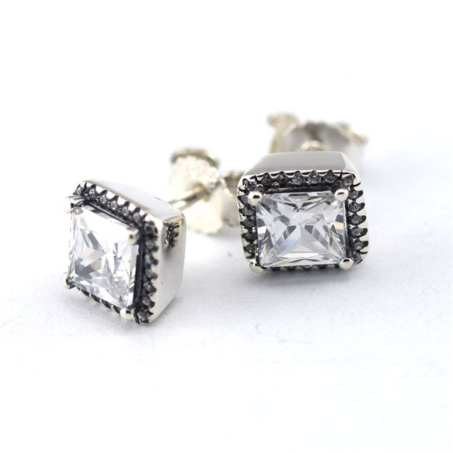 100% 925 Silver Timeless Elegance Stud Earrings With CZ Sterling-Silver-Jewelry Square Earrings for Women Fashion Jewelry