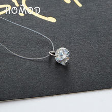 HOMOD Silver color Dazzling Zircon Necklace And Invisible Transparent Fishing Line Simple Pendant Jewelry LPXK057